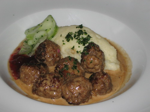 Swedish meatballs, cucumber salad, lingonberry preserve, mashed potatoes