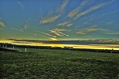 Fields and skies (OrangUtanSam) Tags: sunset sky cloud clouds dragr skies copenhagenairport resund dragoer redskies oeresund