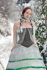 witch of the northern woods (Lucid Optic Lab) Tags: winter white snow green oregon forest portland photography photo woods december or north optical wintersolstice corset braids tiedye lucid 2008 choker wiccan whitewitch hoopskirt lucidopticlab witchofthenorthernwoods