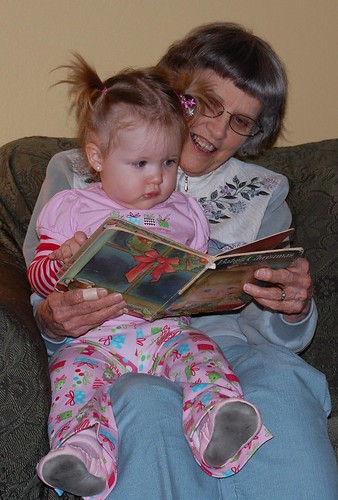 Ardyn reading with Great Grandma Rodgers