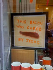 Bacon (jayinvienna) Tags: sign bacon shropshire cured fb miracle jesus ludlow iphone