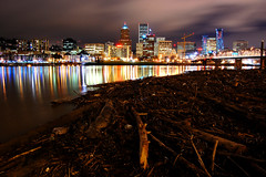 Hello and Good Night Portland (Jon Asay ) Tags: hello bridge skyline night river portland nikon good driftwood 1855mm hawthorne willamette d40    todaywasthefirstdayofschool
