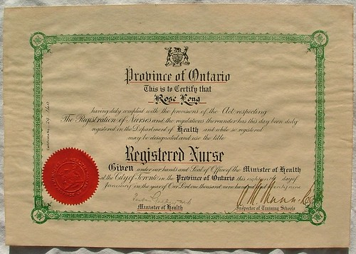 Province of Ontario Registered Nurse Certificate 1929 - a photo on ...