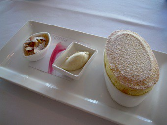 Mango souffle, The Summit restaurant, Sydney