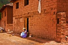 Stitching (chatursunil) Tags: woman peru outside valle salinas stitching sagrada sacredvalley urubamba