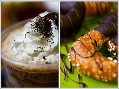 It's All About the Chocolate (ranzino) Tags: food dessert restaurant diptych chocolate whippedcream pa lancaster chocolatedipped pretzel lititz dutchcountry padutchcountry cafechocolate icedhotchocolate