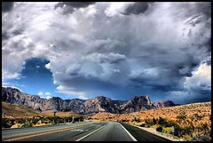 There's a storm coming up... (*Arianwen*) Tags: redrockcanyon usa mountain storm nature clouds landscape desert nevada hdr arianwen anawesomeshot sonyalpha350