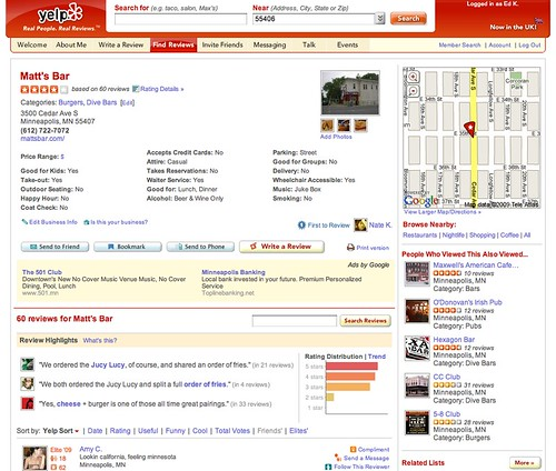 Yelp.com Listing for Matt's Bar in Minneapolis