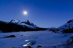 Moon Rise over Tioga Pass (After Dark Photo) Tags: longexposure nightphotography blue winter moon mountains ice water frozen nocturnal fullmoon yosemitenationalpark nocturne startrails tiogapassroad zeiss21mm camerawest