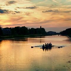 4 in a row (martijnvdnat) Tags: sunset sky orange nature netherlands river landscape 50mm nikon rowing d90 cmartijnvdnat