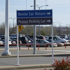 Don't even THINK of parking your pistachio here (ninjapoodles) Tags: field sign airport adams littlerock parking lot peanut arkansas ihavenoidea
