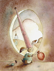 Little Clown (Gretel Parker) Tags: rabbit clown watercolour etsy seafishing nurserypainting fishingbymoonlight