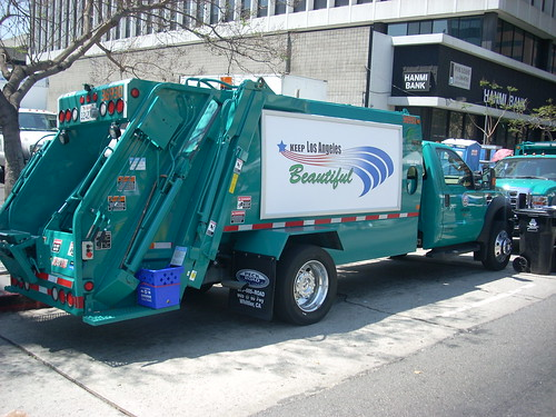 New city trash trucks at Wilshire Center Earth Day Celebration