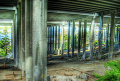 Bike Park Under the Freeway (David R Preston Photography) Tags: seattle park i5 columns freeway hdr 5xp pentaxk10d davidrprestonphotography
