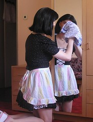 Housewife cleaning the mirror (blackietv) Tags: dress cleanup crossdressing tgirl apron transvestite wife household housewife crossdresser petticoat