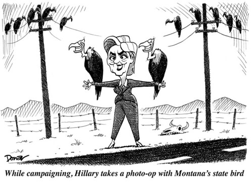 Hillary campaigns with buzzards cartoon