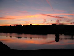 Lower Laithe  Reservoir (Steve Swis) Tags: uk sunset england reflection look television tv europe britain yorkshire north reservoir penistone looknorth lowerlaithereservoir brontecountry paultheweatherman
