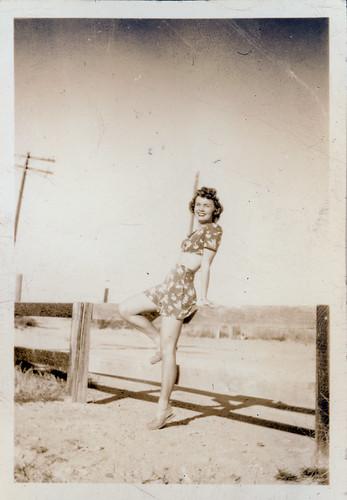 Gloria on fence