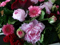 Birthday flowers (Morgaine) Tags: birthday pink roses flower colour home gerbera mlf canonpowershots3is pionies