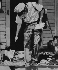 """The Mailman"" Watercolor Painting (Elizabethc) Tags: blackandwhite dog house art artist elizabeth shadows michigan nostalgia 1950s porch contrasts crabtree mailman greyscale battlecreek watercolorpainting elizabethcrabtree crabtreeoriginals"