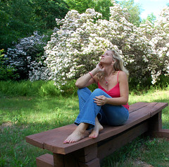 June is a Glorious Month (GoldnGirl (taking a break)) Tags: blue red woman selfportrait feet nature beautiful june hair day bare jeans blonde lover camisole rrw goldngirl fspasg