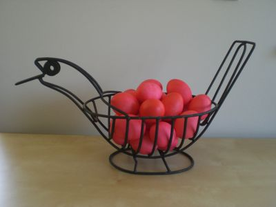 red eggs ready to pass out to guests