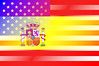 Spain and USA Flag Merge
