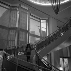 stagefright (memetic) Tags: street bw 6x6 film girl stairs rolleiflex hotel blackwhite melbourne collins descending