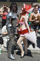 moments of surreality: (Chris Blakeley) Tags: seattle parade armor knight gaypride burlesque suitofarmor viennalarouge prideparade2008