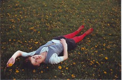 (Kate Pulley) Tags: red amanda slr film girl grass 35mm canon lens eos spring zoom sister tights dandelion