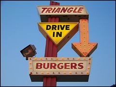 TRIANGLE  BURGERS -  Owners do Not use any of my photos without my permission. (Bob the Real Deal) Tags: ca signs triangle neon kodak hamburgers burgers fresno neonlights centralvalley 1963 neonsigns bestburgers triangledrivein kodakz12iszoom