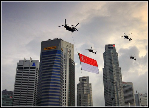 Singapore Air force flying with flag of Singapore