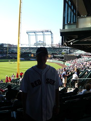 Dave at Safeco Field for Sox Game (daveandsarahselden) Tags: seattle redsox mariners safeco