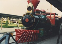Smokey Nountain Railroad # 23 on display. The Chattanooga Choo Choo Holiday Inn Hotel. Chattanooga Tennesee. May 1990.