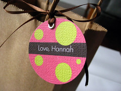 Personalized Favor Tags (becreativestationery) Tags: pink brown green thankyou tag stationery favor