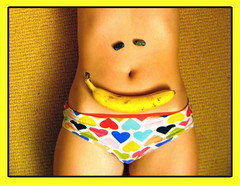 Smiling belly (Paulchen...mostly off. :)) Tags: smile yellow hearts fun panty banana belly smily artlegacy