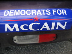 Left for Right (ohwhatachristy) Tags: maine august bumpersticker 2008 campaign foundtype mountdesertisland acadianationalpark presidentialcandidate democratsformccain