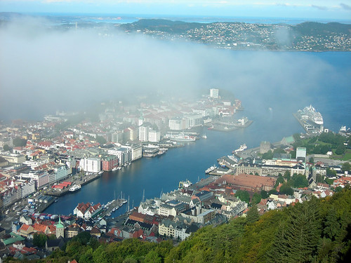 View of Vagen Harbor through the clouds