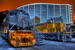 UP Locomotives at the DNC (Thad Roan - Bridgepix) Tags: railroad building up architecture train photoshop colorado track display rail railway ps denver unionpacific locomotive traintrack dnc obama railfan hdr democraticnationalconvention railfanning photomatix 200808