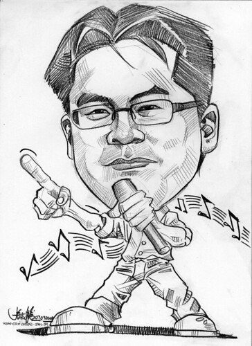 Caricature for Singapore Airline singer