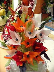 Carved vegetable centerpiece (flowers)