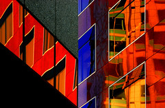 busy city 4 (booksin) Tags: california windows building colors lines northerncalifornia architecture reflections bright angles vivid surreal sanjose blacklight modernarchitecture downtownsanjose contemporaryarchitecture dayglow booksin sychedelic colorphotoaward colourartaward artlegacy thebestvivid heritagecommercebank copyrightbybooksinallrightsreserved