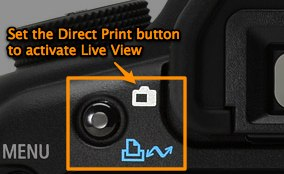 Re-program the Direct Print button on the Canon 5D Mark II to activate Live View and get a pseudo-MLU feature for free