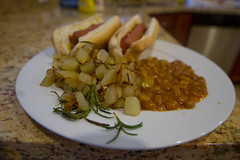Hashbrowns, Baked Beans, Veggie Hot Dogs