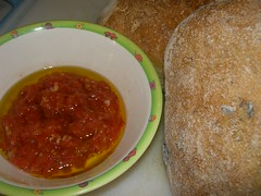 tomato sauce and sourdough bread