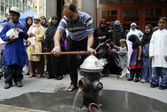 Muslim American (steffiekeith) Tags: street usa newyork flag muslim islam prayer pray parade american hegab
