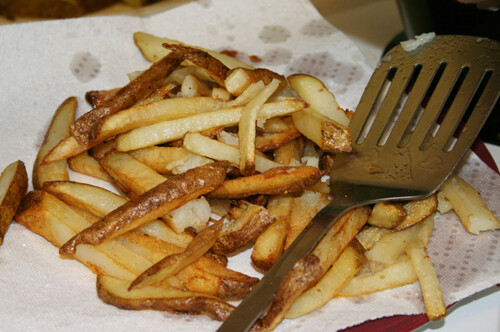 draining fries