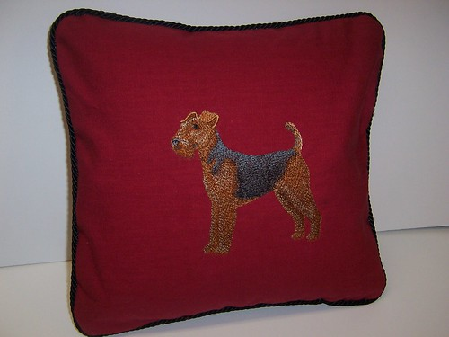 Airedale embroidered pillow