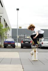 James Pain - Ollie over Hydrant (Jean-René Vauzelle) Tags: red port hydrant fire james pain bush skateboarding skating gap melbourne ollie skate skateboard prahran