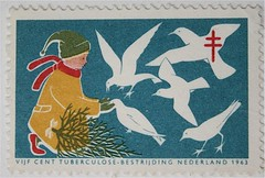christmas stamp (allerleirau) Tags: christmas winter holland netherlands birds illustration vintage 60s post graphic nederland christmastree retro ephemera stamp sixties doves postagestamp 1963 niederlande midcentury briefmarke
